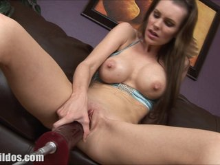 Milf Brandi fucked by a brutal dildo equipment