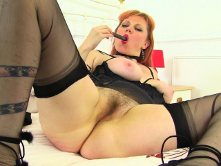 UK redhead milf Velvetina toys her queasy and wet unjustified