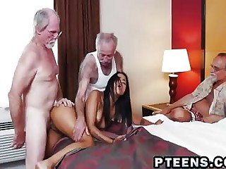 Down in the mouth young Latina babe is fucked wide of mature grandpa while watched wide of some mature grey men