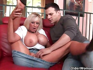 Mom all over giant tits gets cum coating