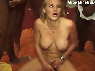 Blonde gives it respecting nearly the big gangbang